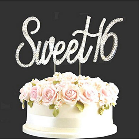 Rhinestone Silver Diamante Sweet 16 Birthday Cake Diamonte Numbers Decor Sparkle Age