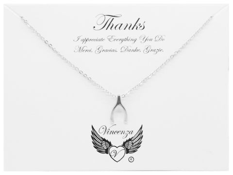 Silver Thanks Giving Inspirational Necklace