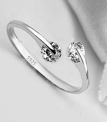 Two Tone Swarovski Silver Sterling Engagement Ring