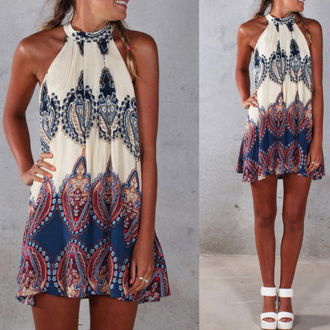 Bohemian Print Halter Neck Dress By Vincenza
