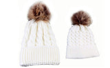 Mom and Baby Pom Pom Hat Set