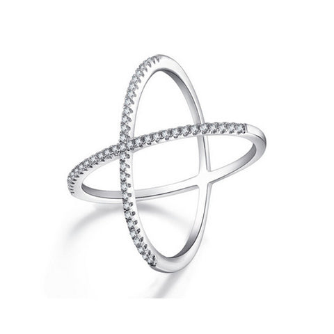 Cubic Zirconia Diamond Tennis Cross Ring