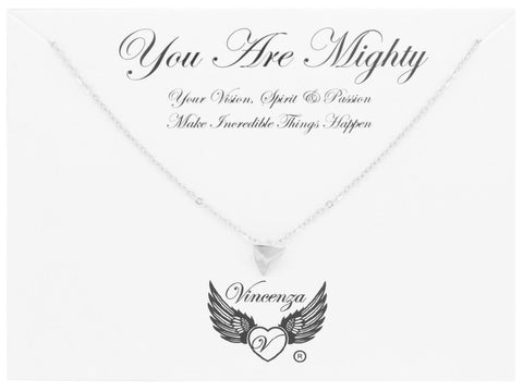 Silver You Are Mighty Inspirational Necklace
