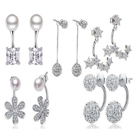 Five-Piece Set of Silver Earrings