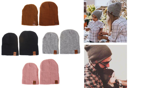 Mom/Dad & Child Unisex Winter Beanie Hat (Set of 2)