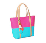 AK Collection Two Color Vegan Leather Tote Bag