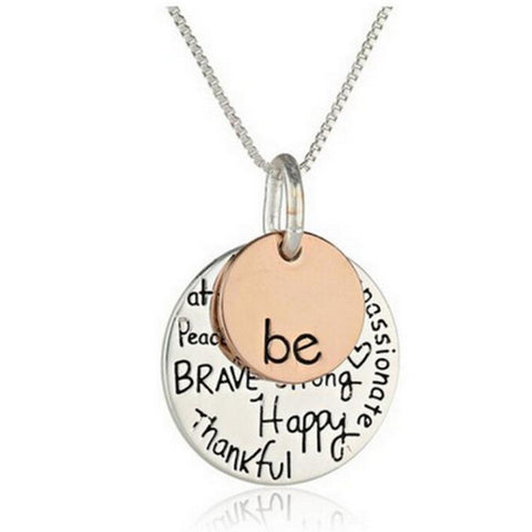 "Two-Tone ""Be"" Inspired Personalized Silver-Plated Charm Necklace"