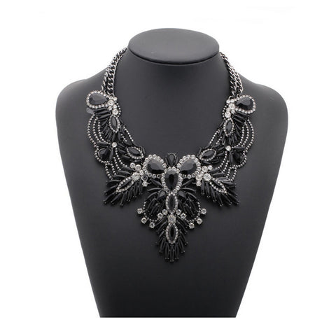 Crystal Statement Necklace - Black