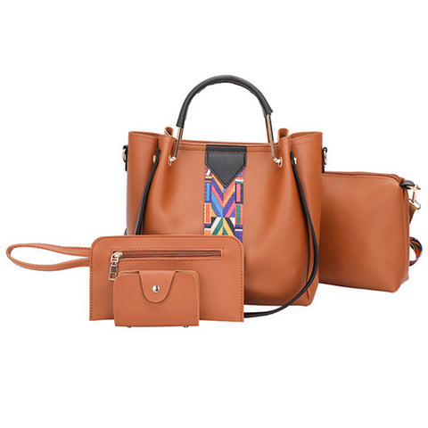 The Civita By AK Collection 4 Piece Handbag Set with Changeable Strap