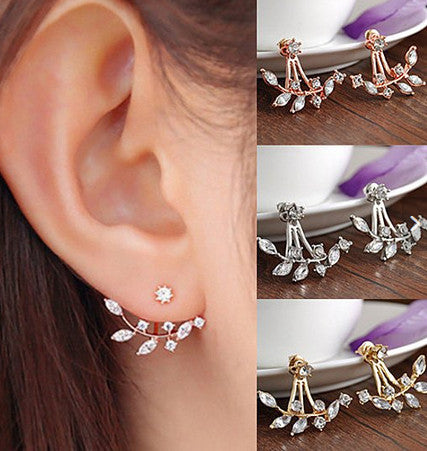 Fall Leaf Crystal Swing Stud Earrings