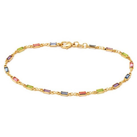 Multi-Colored Anklet with Emerald Cut Crystals From Swarovski