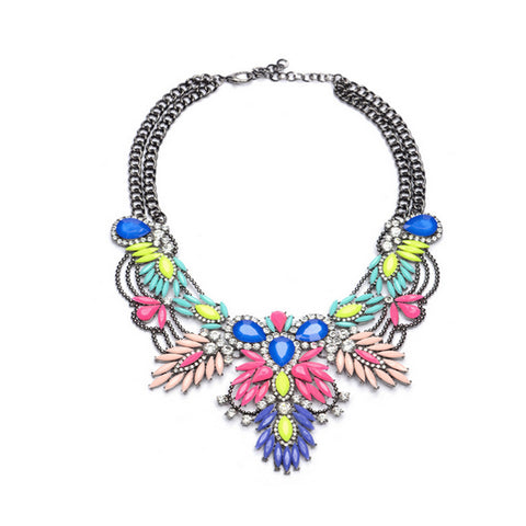 Crystal Statement Necklace - Multicolor