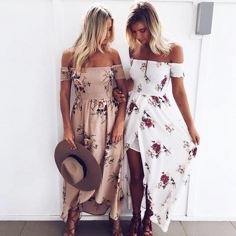Vincenza Off Shoulder Floral Print Maxi Dress
