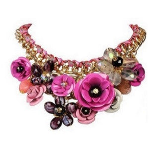 Pink Flower Statement Choker Necklace