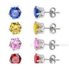 Cubic Zirconia Studs in a Variety of Colors