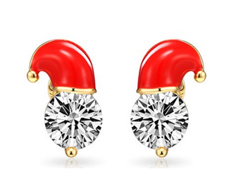 Beautiful Santa Hat Stud Earrings