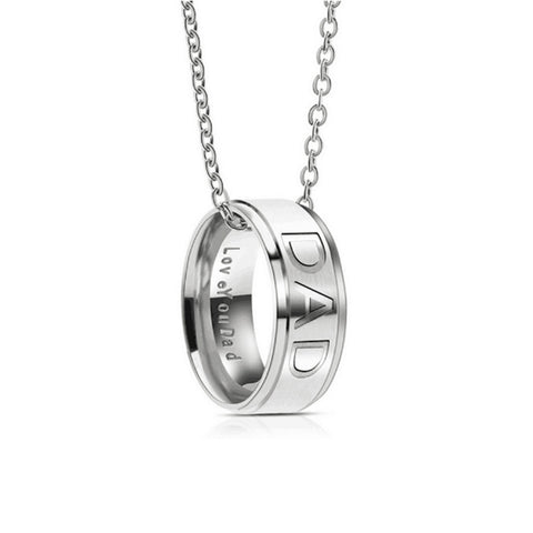 Stainless Steel Dad Ring Necklace