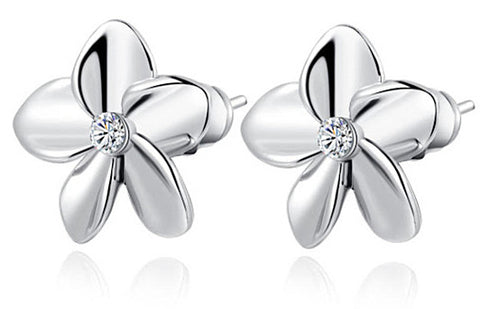 Cubic Zirconia Heart Flower Earrings