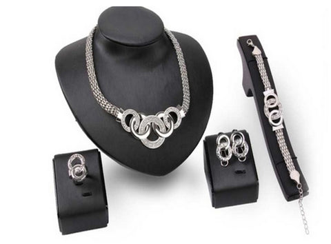 Four-Piece Silver and/or Gold Crystal Link Sets