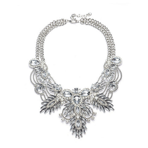 Crystal Statement Necklace - White
