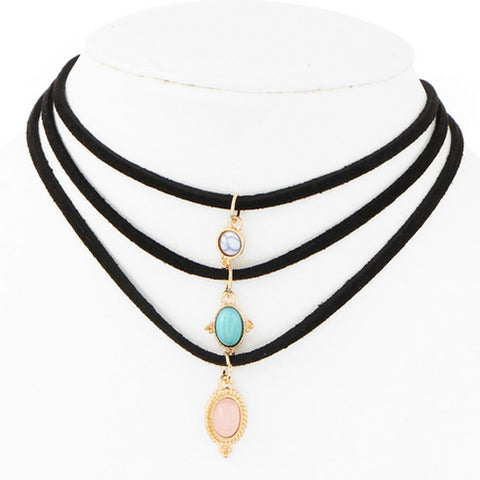 Faux Leather Turquoise Choker Necklace Set