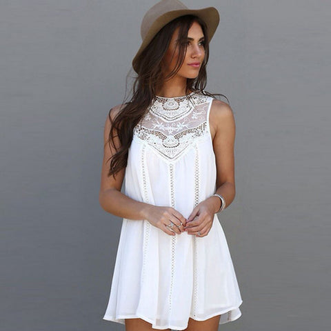 White Lace Mini Dress By Vincenza