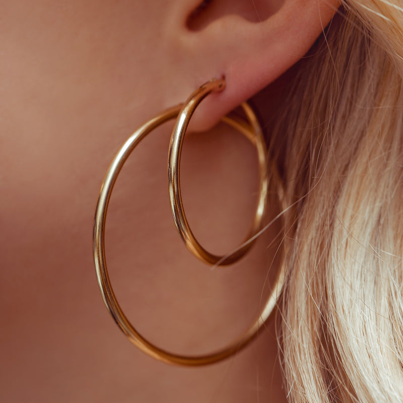 Skull Dagger Wire Hoops : 14k Gold Filled