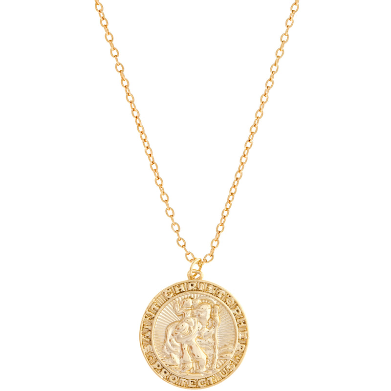Saint Christopher Coin Necklace : Gold