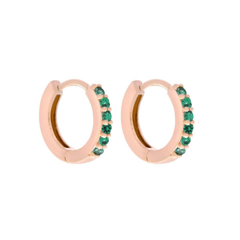 Emerald Cubic Mini Hoops
