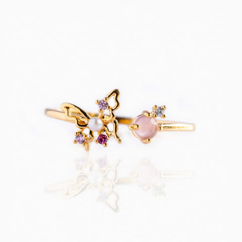 Magenta Flutter Adjustable Ring