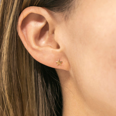14k Fine Gold Star Stud Earrings