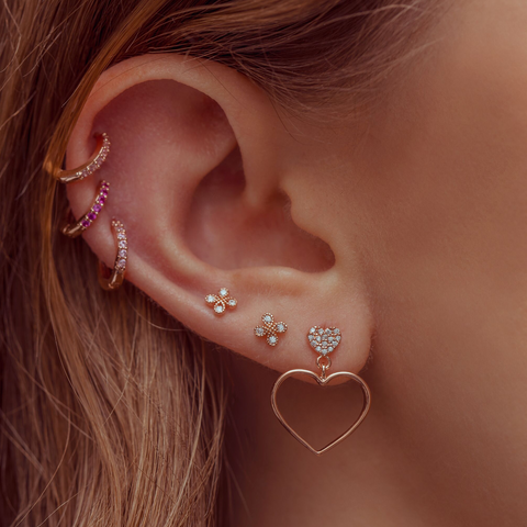Baby Pink Cubic Mini Hoops