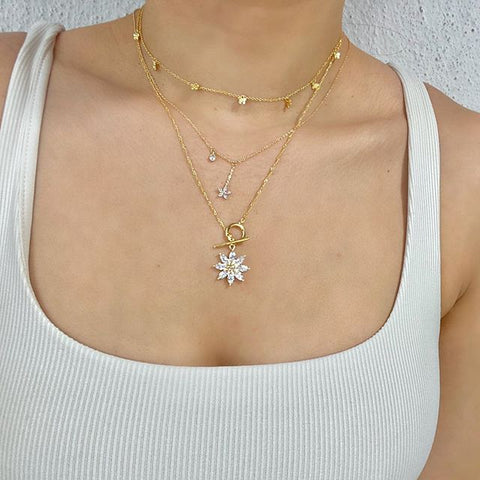 Flower Blossom Dangle Necklace