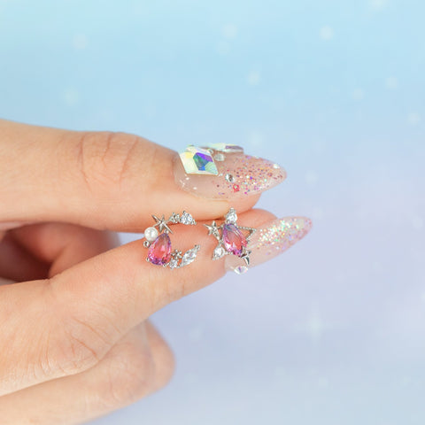 Aurora Moon & Star Studs
