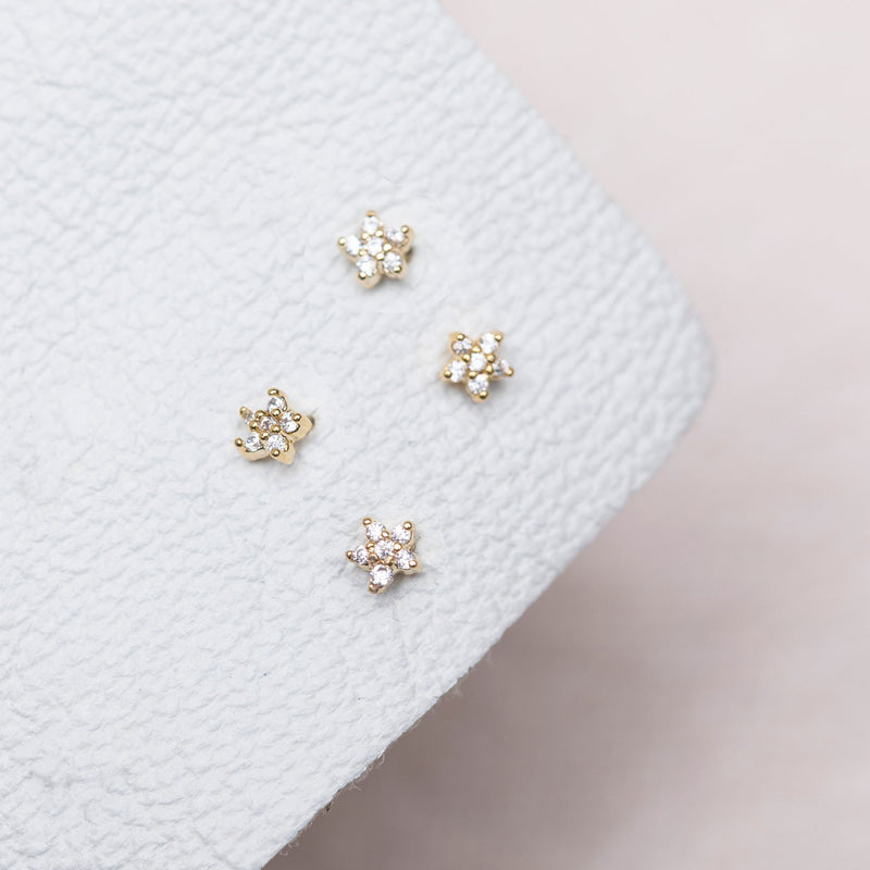 Teeny Tiny Star Studs : Gold