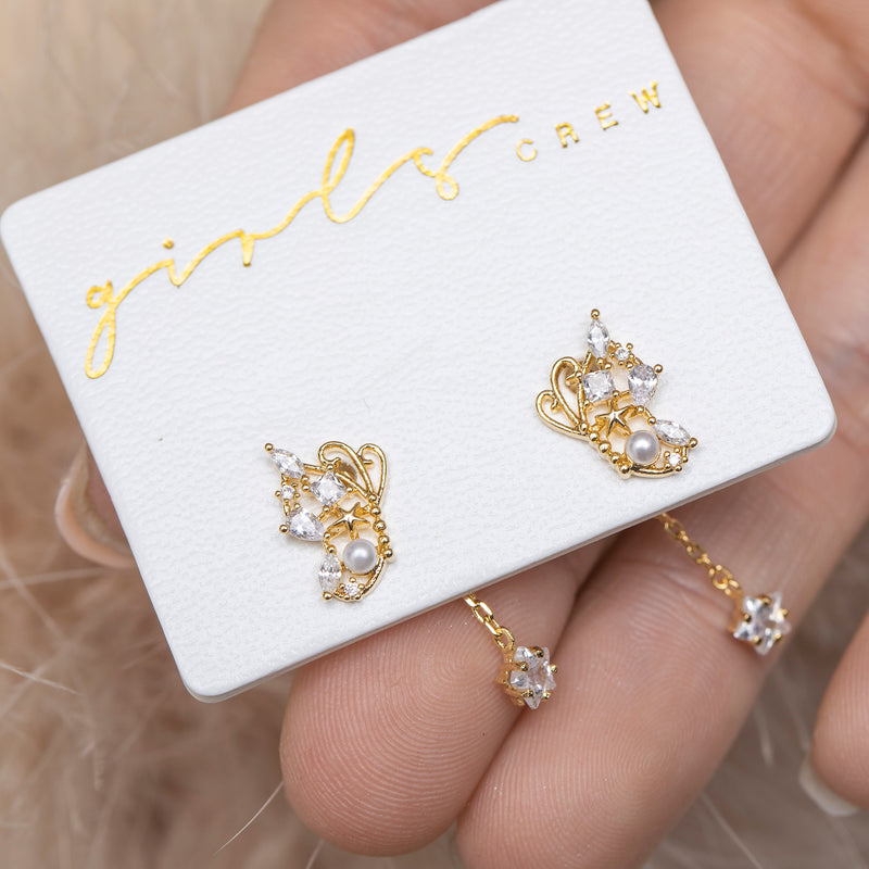 Mini Enchanted Butterfly Dangle Earrings : Gold