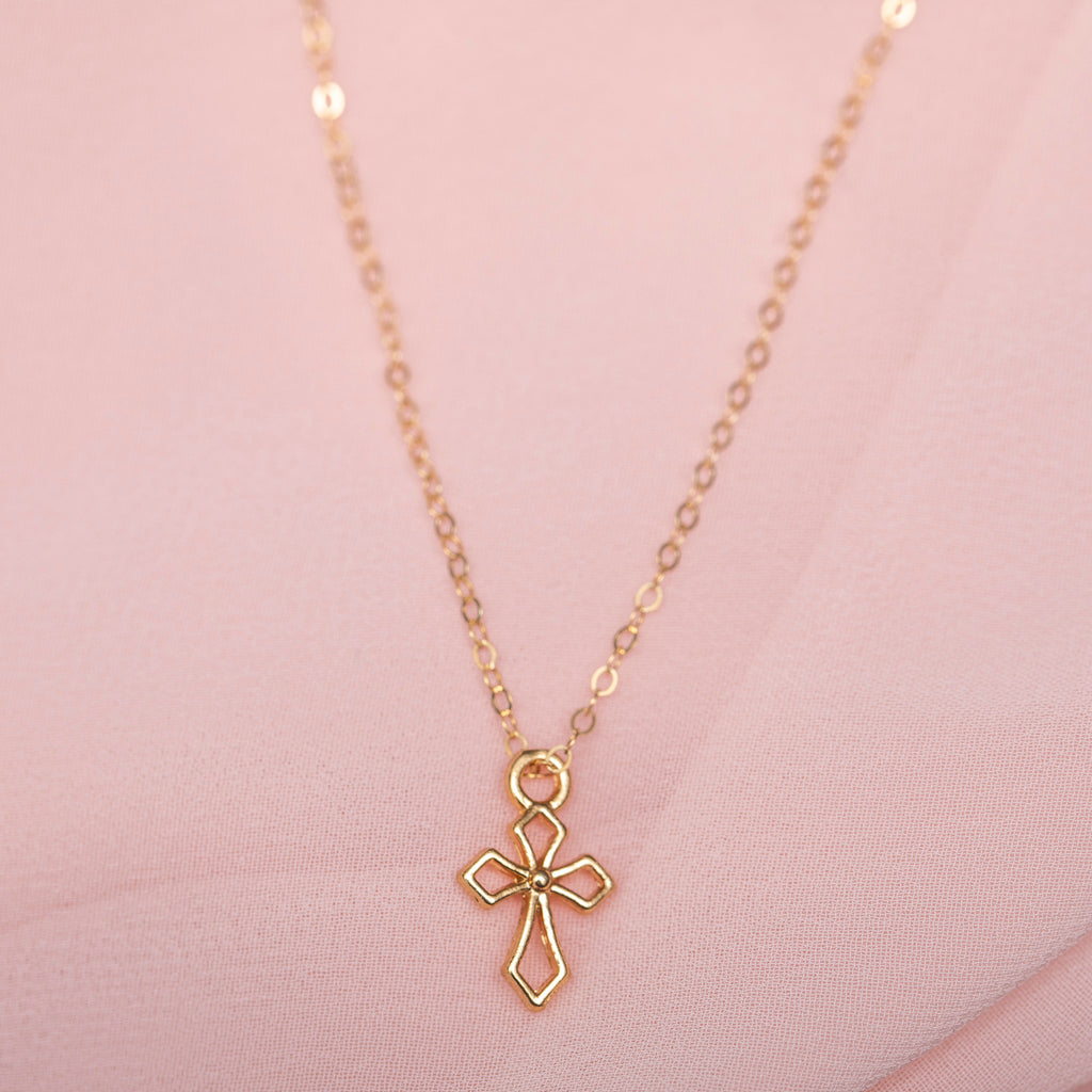 Cross Necklace: Gold