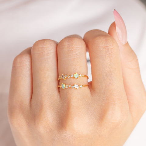 Charming Opal Adjustable Ring