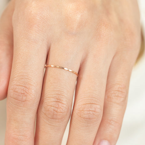 14k Fine Solid Hammered Stacker Ring