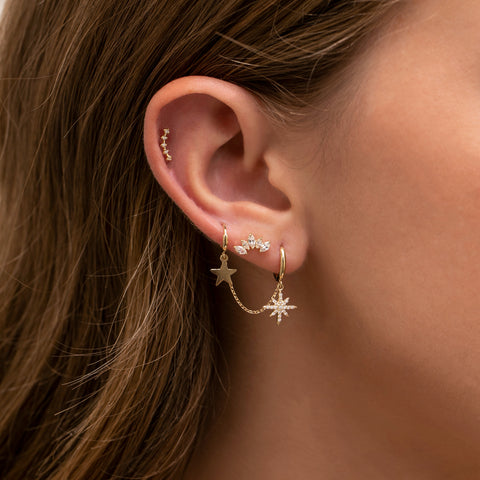 Fine Clear Constellation Stud
