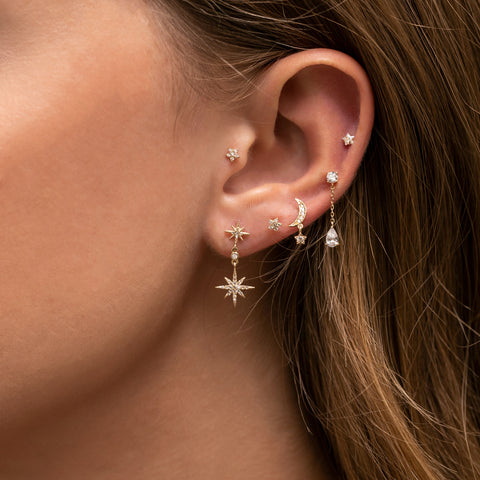 Fine Crescent Dangle Earring