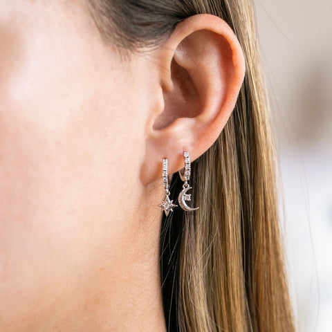 Starry Night Cubic Mini Hoops