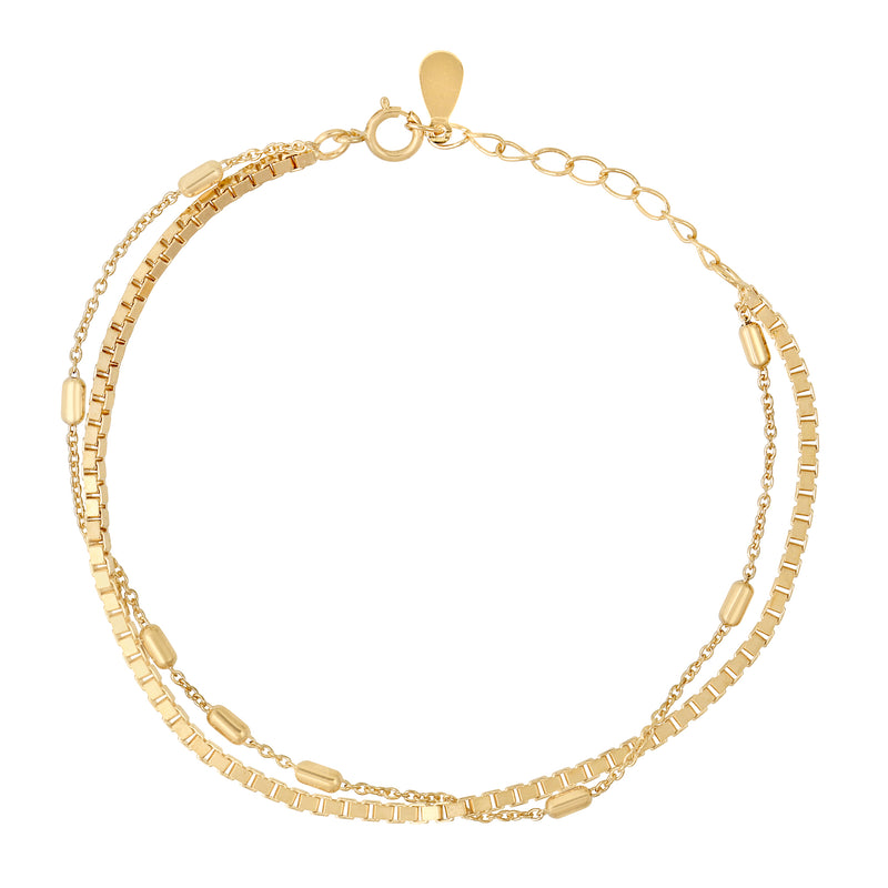 Double Up Cubed Chain Bracelet : Gold