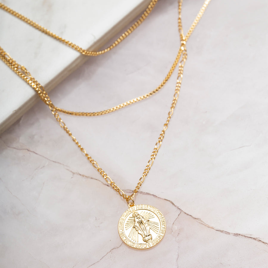 MC Medallion Layered Necklace