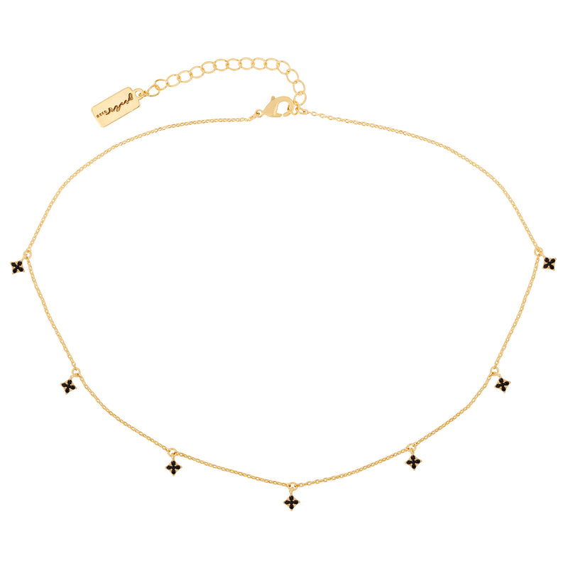 Ebony Diamond Dangle Choker : Gold