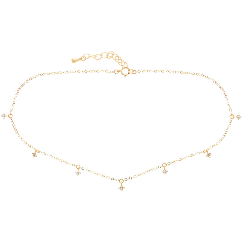 Diamond Dangle Choker : Gold