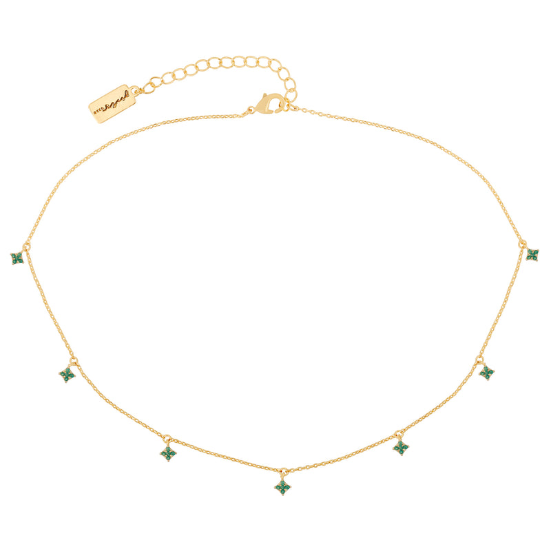 Emerald Diamond Dangle Choker : Gold