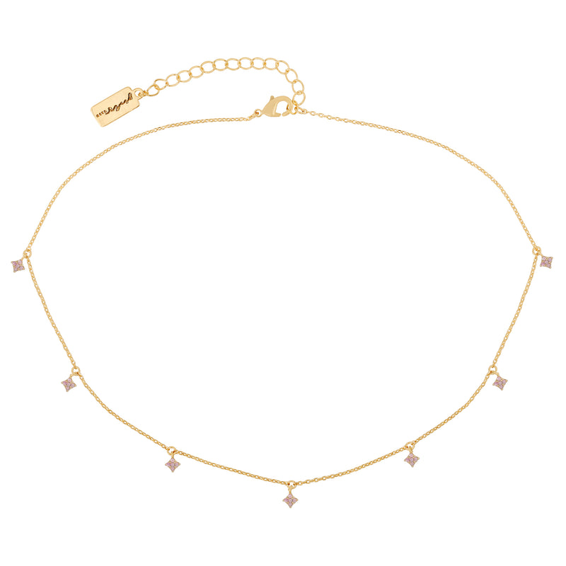 Baby Pink Diamond Dangle Choker : Gold
