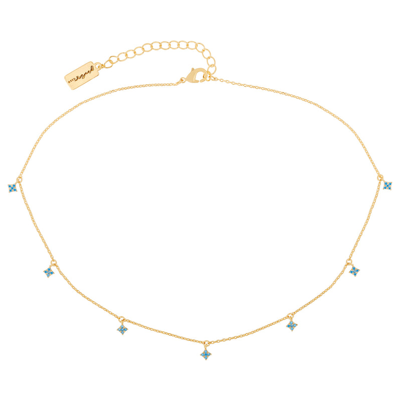 Turquoise Diamond Dangle Choker : Gold