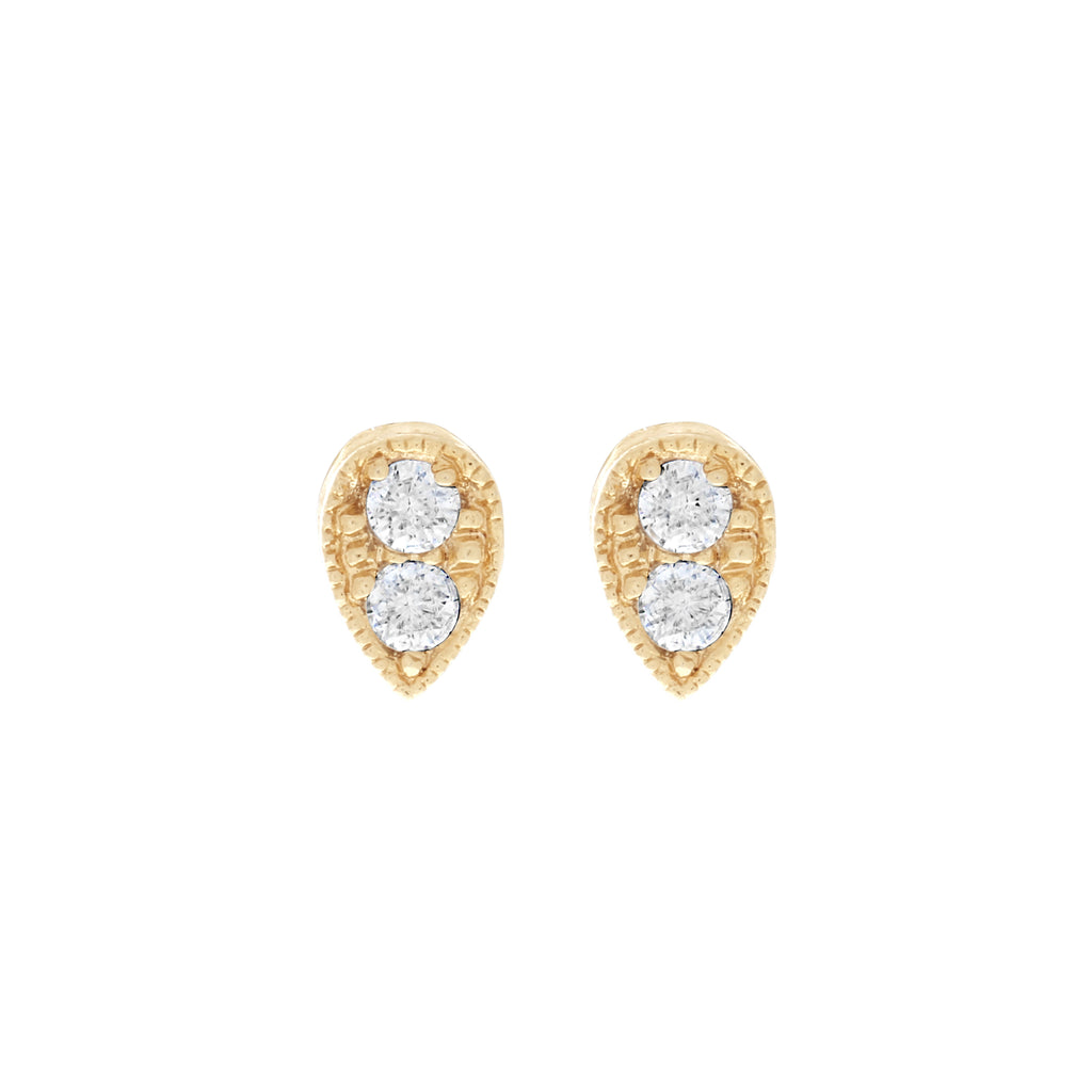Tear Drop Stud Earrings : Gold